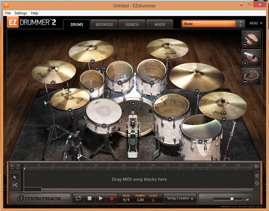 EZ Drummer 2 - Main Screen